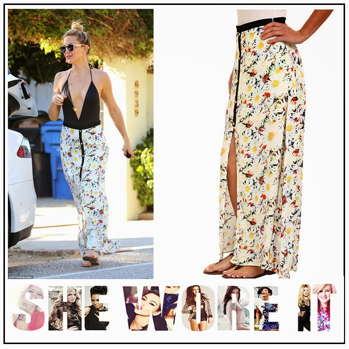 All Over Floral Print, Black, Black Contrast Piping Detail, Celebrity Fashion, Fool for You, Kate Hudson, Maxi Skirt, MinkPink, Red, Spilt, White, Yellow,