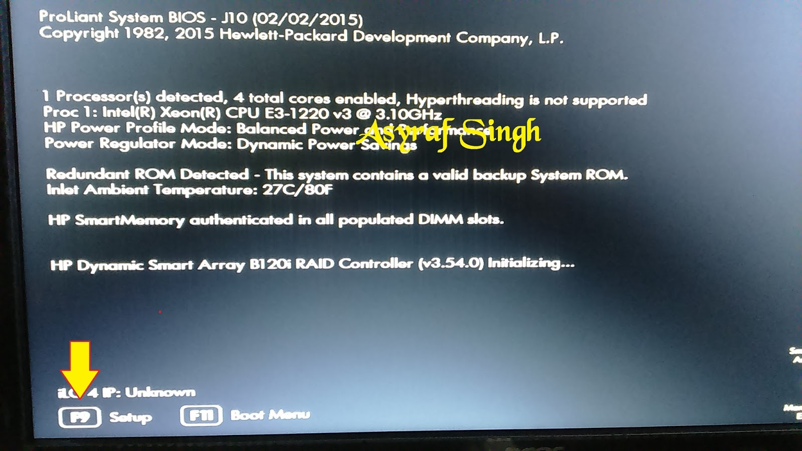 how to update proliant system bios