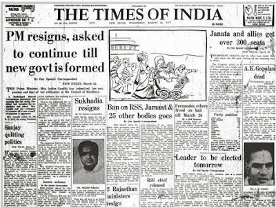 TOI report on Janata party victory and resignation of Indira Gandhi