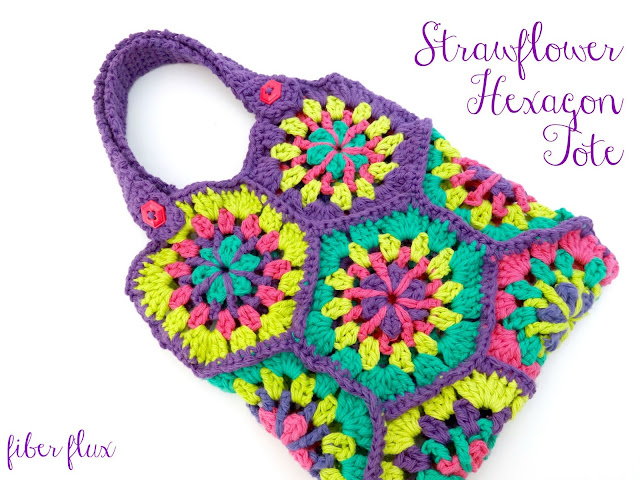 Fiber Flux: Free Crochet Pattern...Strawflower Hexagon Tote!