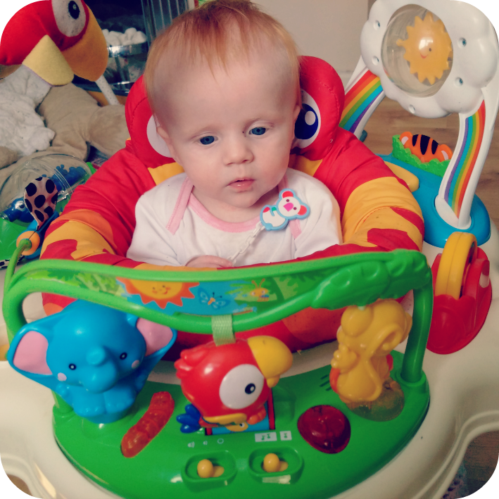 Close up of Marianna in Jumperoo