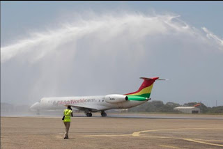 Ghana's Africa World Airlines Embraer 145 in Accra, Ghana 9G-AET