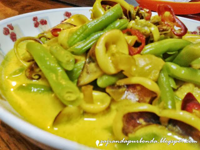 masak lemak sotong dengan kacang buncis   tips resep cara