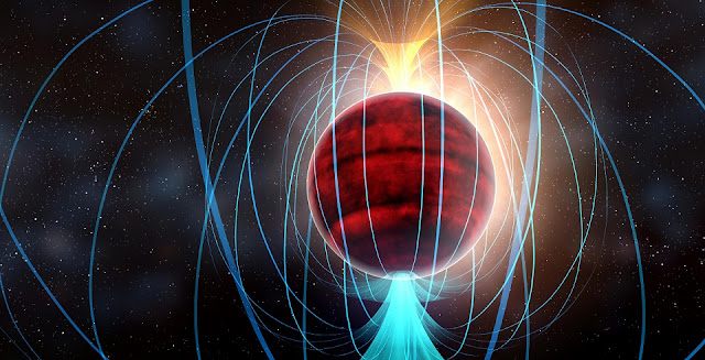 Artist's impression of red dwarf star TVLM 513-46546. ALMA observations suggest that it has an amazingly powerful magnetic field (shown by the blue lines), potentially associated with a flurry of solar-flare-like eruptions. Credit: NRAO/AUI/NSF; Dana Berry / SkyWorks
