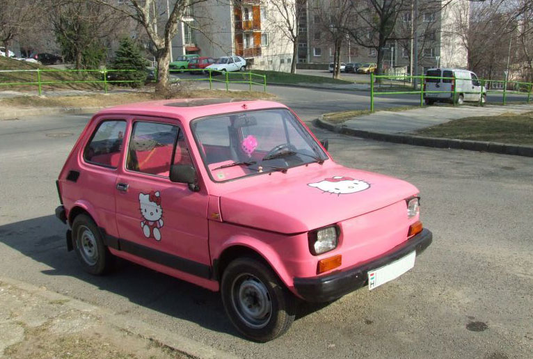 Cute little pink car