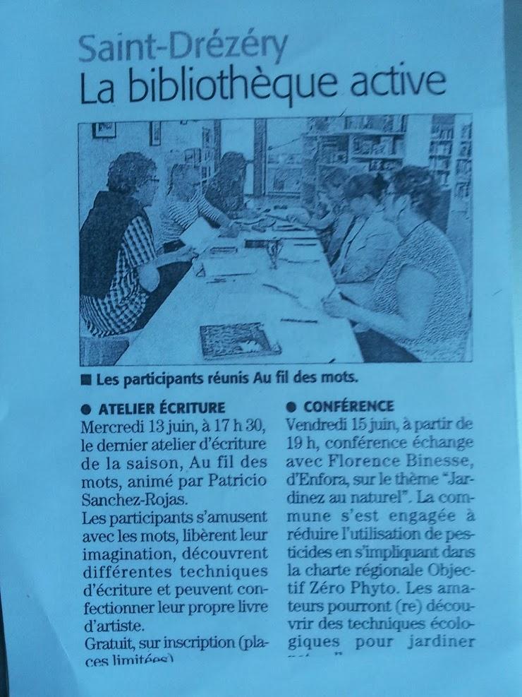 Atelier d'écriture Saint-Drézery - Le 13 juin 2018 - Patricio SANCHEZ ROJAS