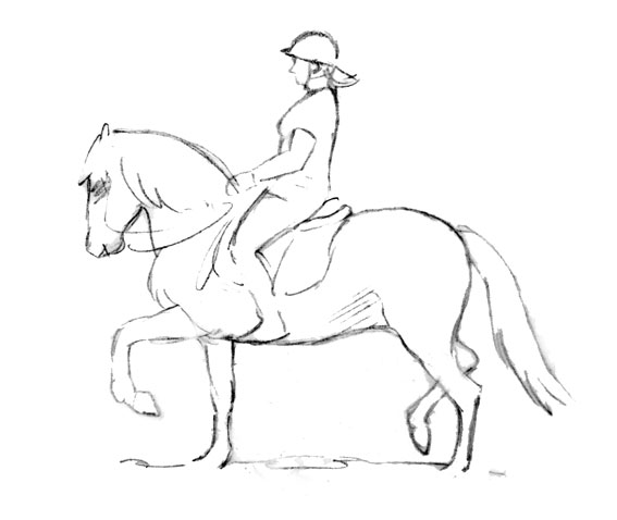 Person riding horse drawing sketch coloring page view larger image image ccuart Gallery
