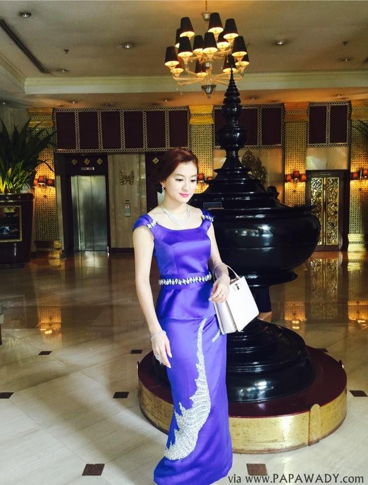 Wut Hmone Shwe Yi in Beautiful Myanmar Dress