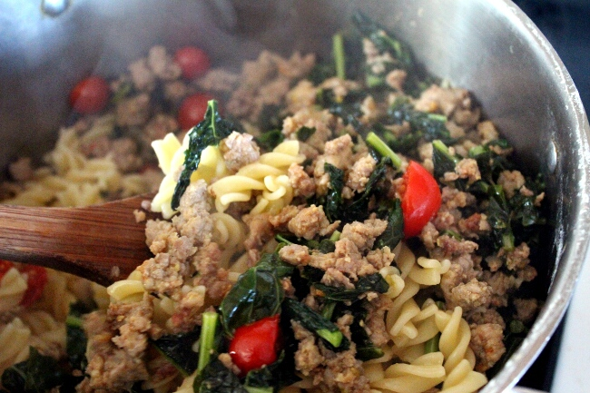 Turning It Home: Fusilli with Kale, Sausage and Cherry Tomatoes