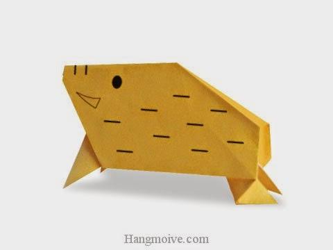 Cách gấp, xếp con Lợn Rừng bằng giấy origami - Video hướng dẫn xếp hình - How to make a Wild Boar