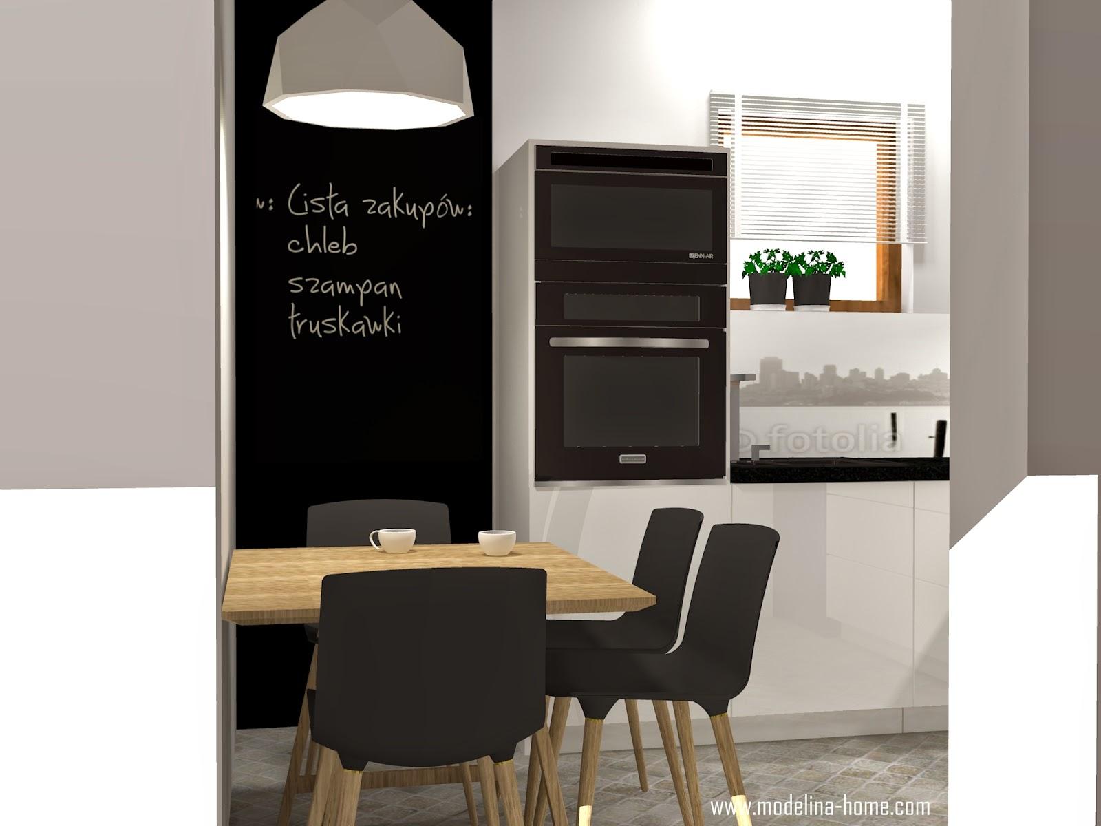 Modelina Kuchnia biało czarna -> Kuchnia Czarna Z Drewnem