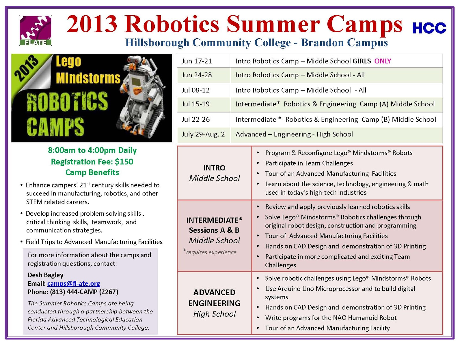 Flate Focus Engineering And Robotics Summer Camps At Hcc Brandon