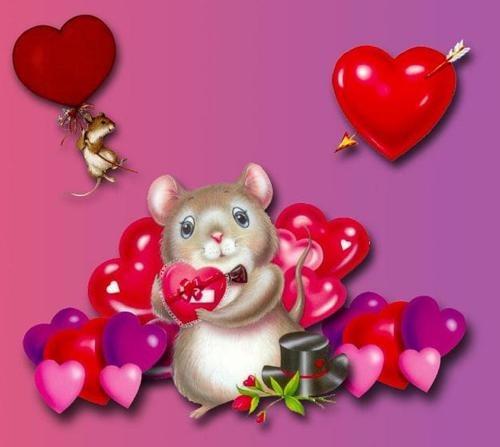 Ratón con corazones