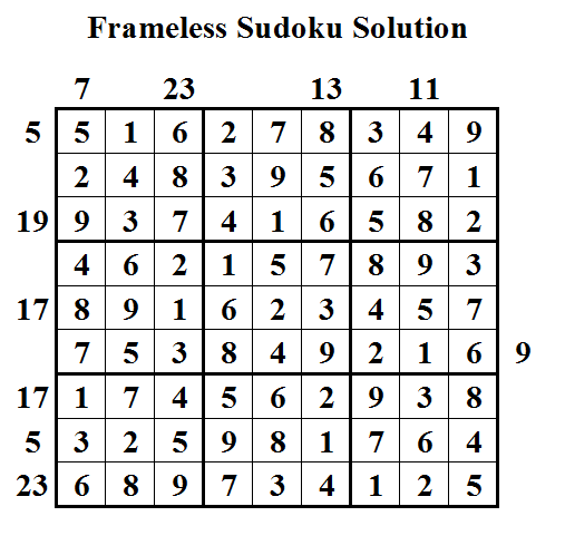 Frameless Sudoku (Daily Sudoku League #24) Solution