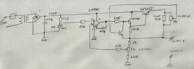 electronics engineering notes  crude power supply with lm741 2n3055
