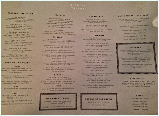 Berner's Tavern, London - Menu