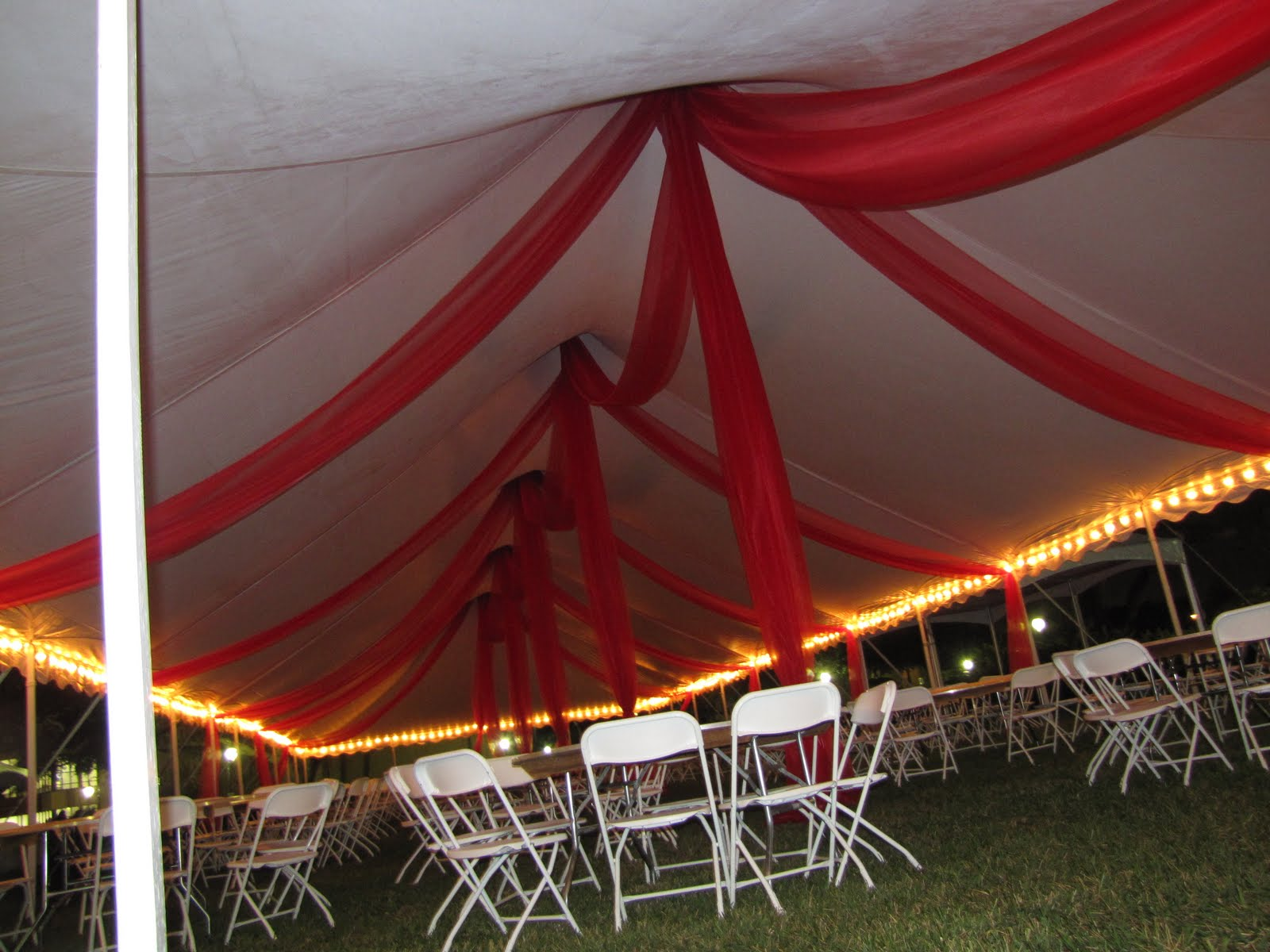 Tent Organza Swags at night time. & Party People Event Decorating Company: Tent Organza Swags at night ...