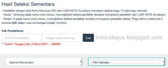 cek seleksi PPDB SD Surabaya 2015