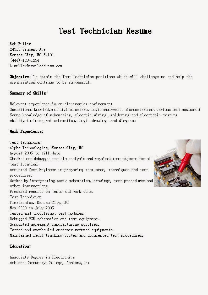 Resume Samples Test Technician Resume Sample