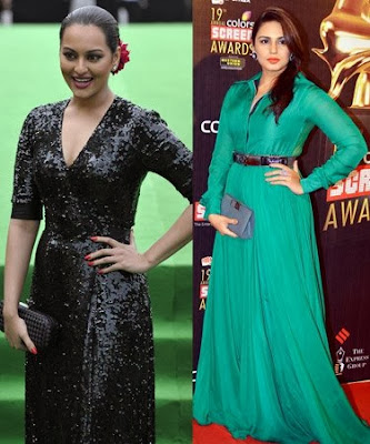 Sonakshi Sinha in Black Dress and Huma Qureshi in Green Dress pictures