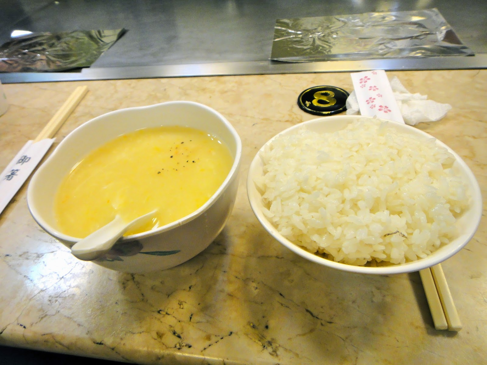 Corn soup and rice at teppanyaki stall in Taiwan