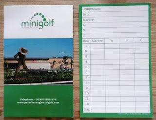 The Peterborough Minigolf course scorecard