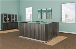Modern Reception Desk with Gray Steel Laminate Finish