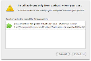 Mozilla Prism application: Installing add-ons