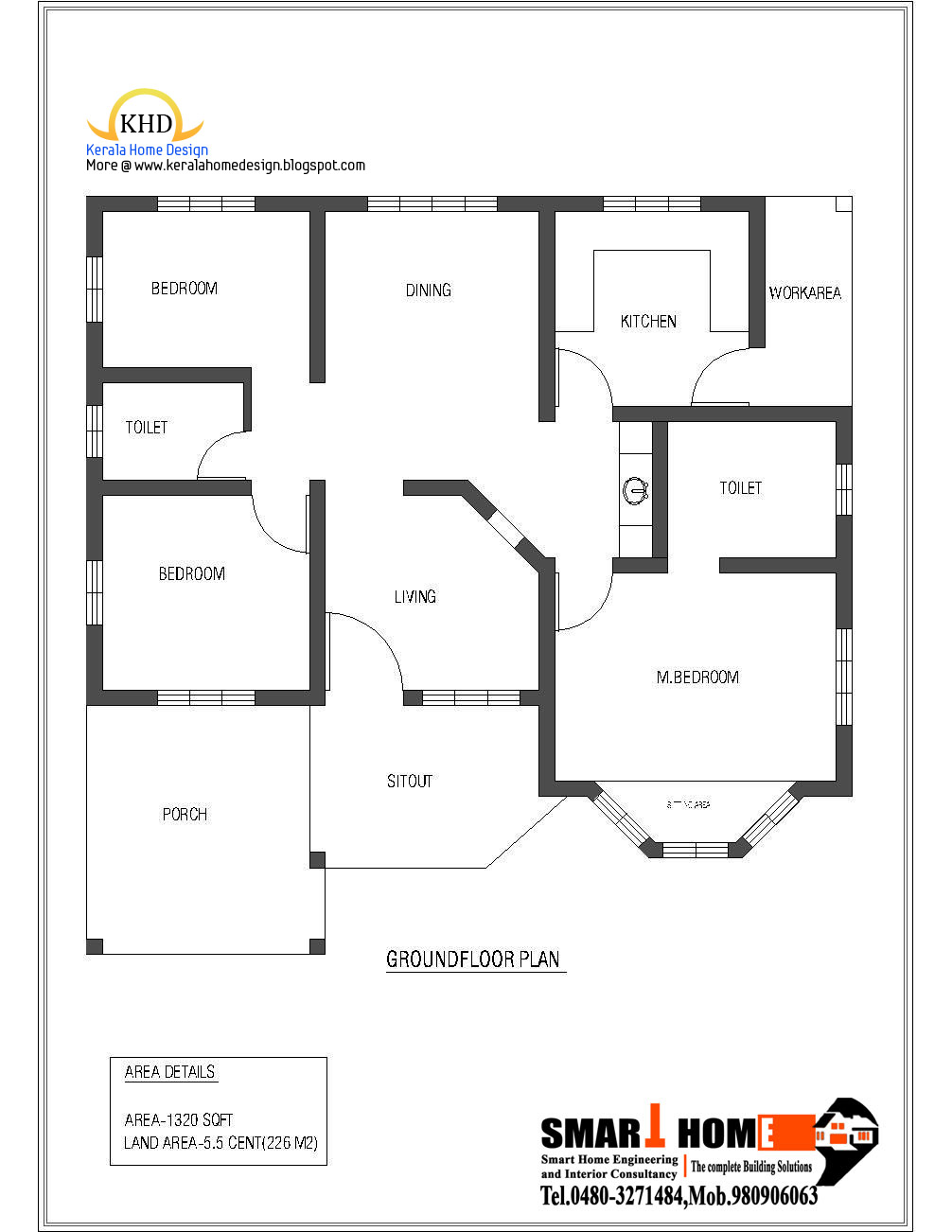 Single floor house plan and elevation 1320 sq ft for Kerala single floor house plans