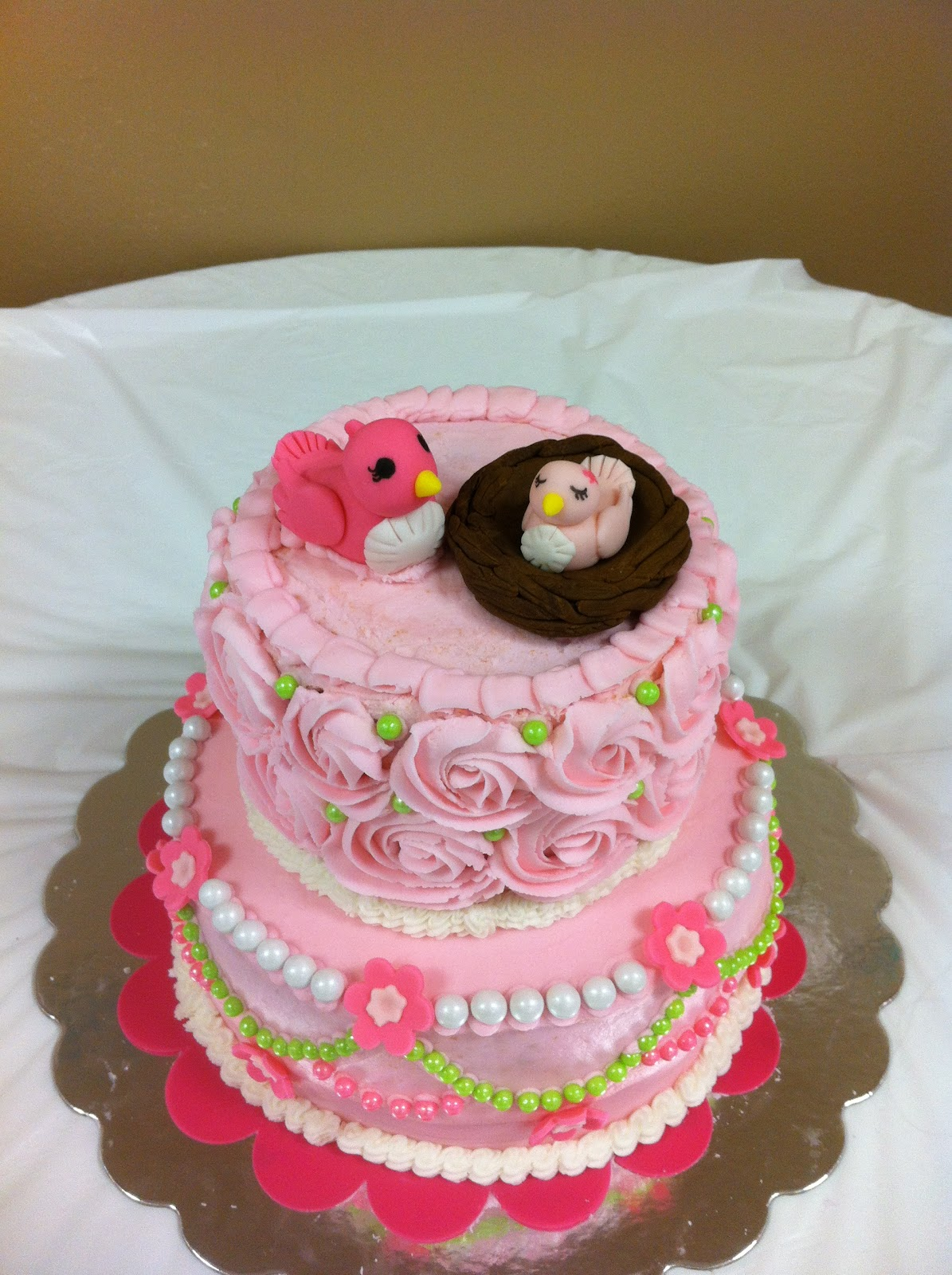 Mama and Baby Bird Baby Shower Cake