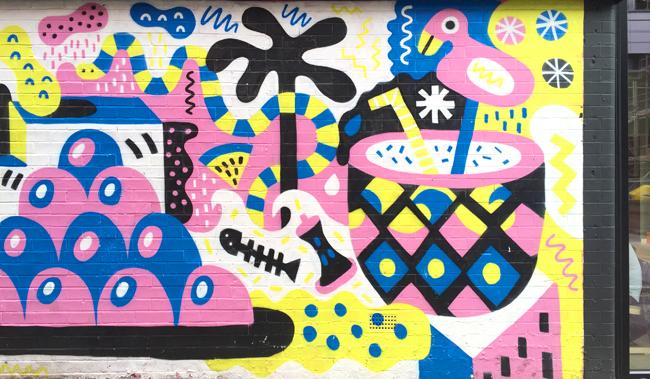 manchester, street art, flamingo graffiti