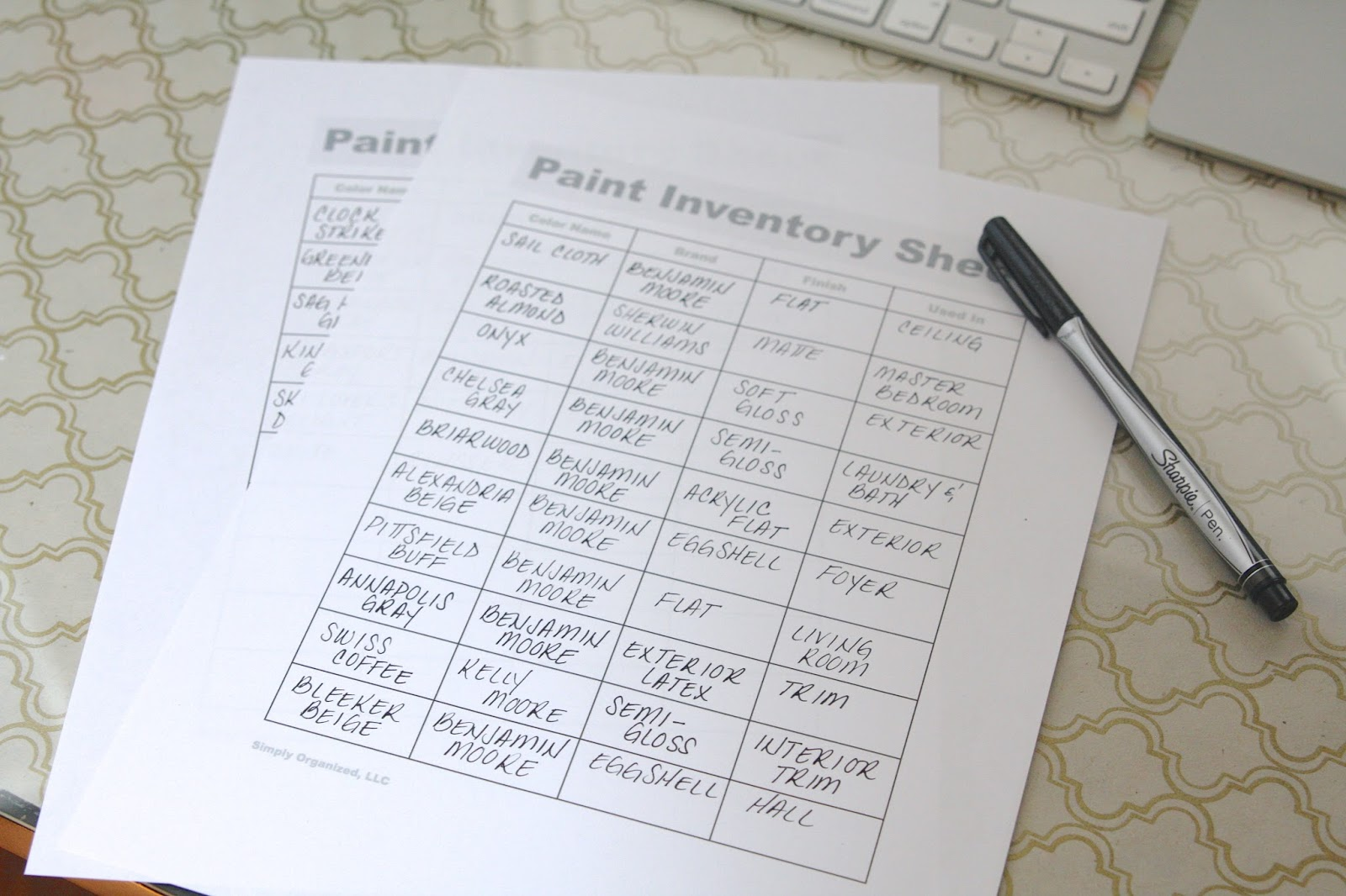 Paint Inventory Sheet Free Printable simply organized