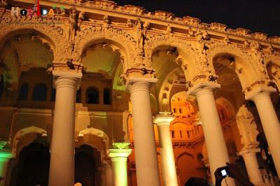 All lit up pillars