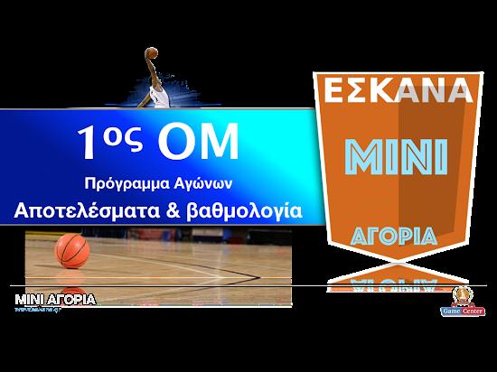ΜΙΝΙ ΑΓΟΡΙΑ 1ος ΟΜ ☻ Το πρόγραμμα αγώνων