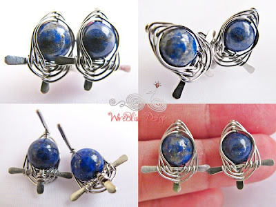 Wire weave stud earrings, Lapiz Lazuli by WireBliss