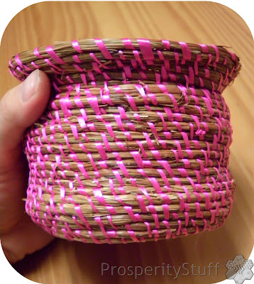Pine Needle Basket - Pink Ribbon