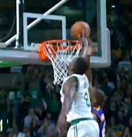 Jeff Green slams it down, then swats Antawn Jamison