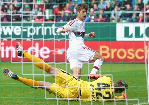 Thomas Mueller scored Werder Bremen vs Bayern Munich