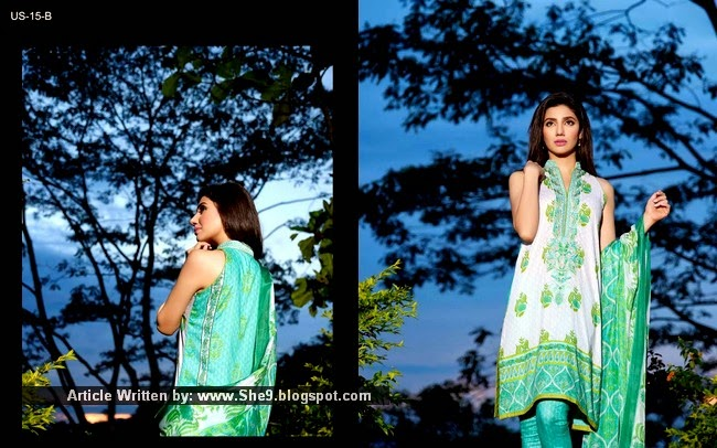 Umar Sayeed Lawn 2015-2016 Catalogue Featuring Mahira Khan