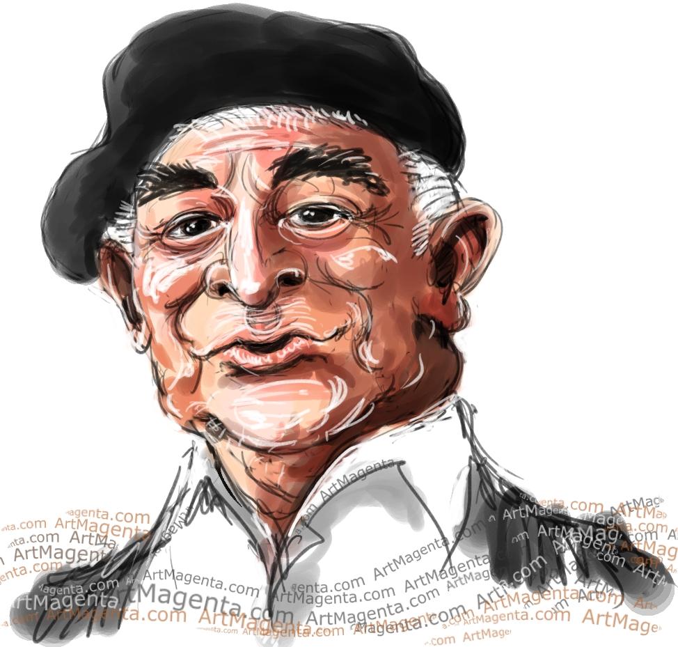 En karikatyr av Evert Taube tecknad av illustratören Artmagenta