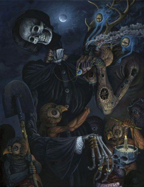 Jeff Christensen js4853 deviantart pinturas surreais sombrias Deuses do túmulo