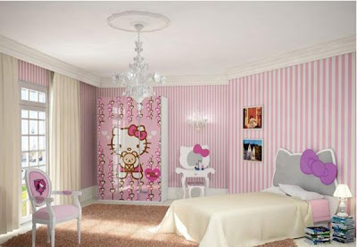 Gambar Kamar Tidur Anak Perempuan Desain Hello Kitty