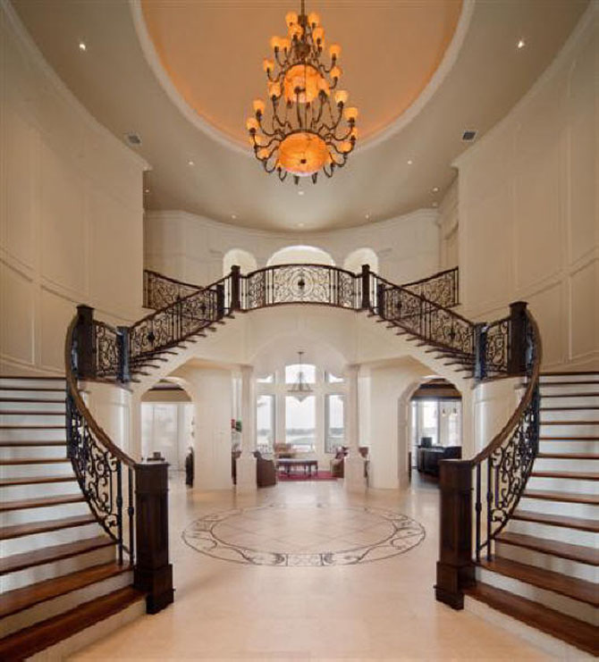Home decoration design luxury interior design staircase for Mansion foyer designs