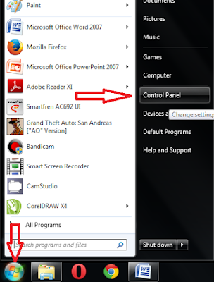 Klik start, klik control panel
