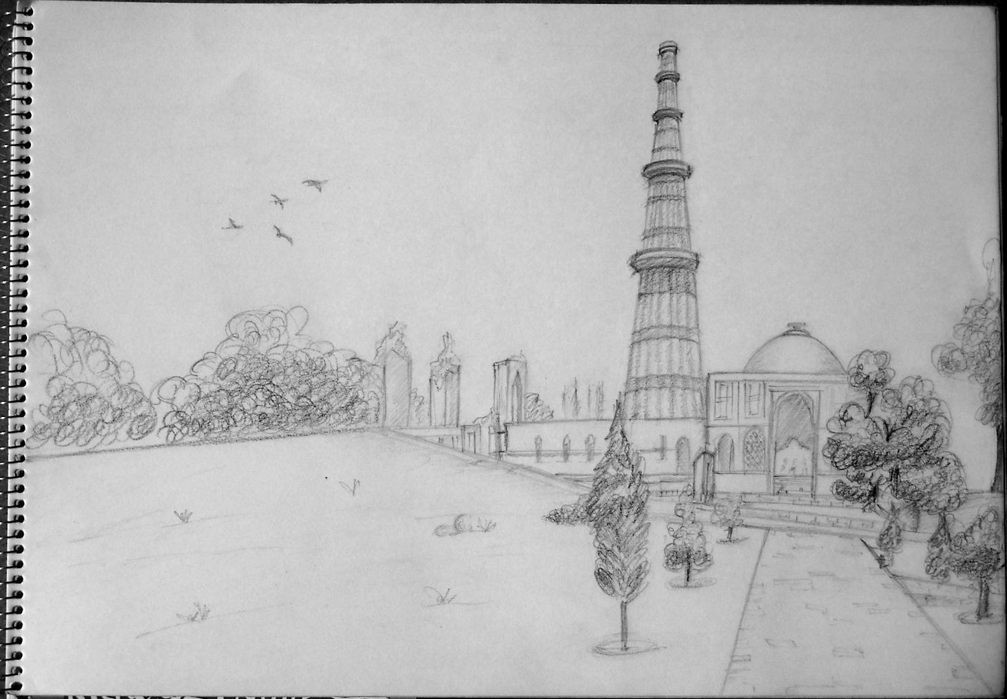 Qutub Minar Sketch | www.imgkid.com - The Image Kid Has It! Qutub Minar Sketch For Kids