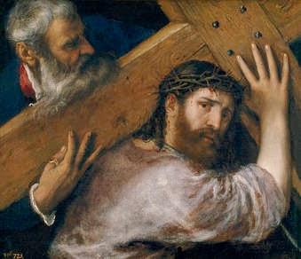 Pintura. Cristo con la cruz a cuestas de Tiziano