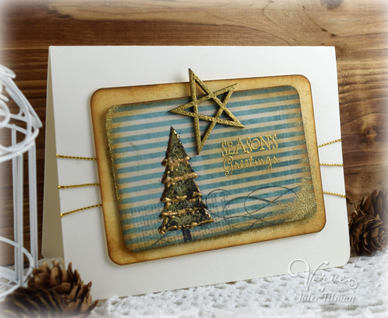 Julee Tilman | Click here to see more of Julee's creations | Rustic Greetings using Holiday Greetings from Verve. #vervestamps #cardmaking