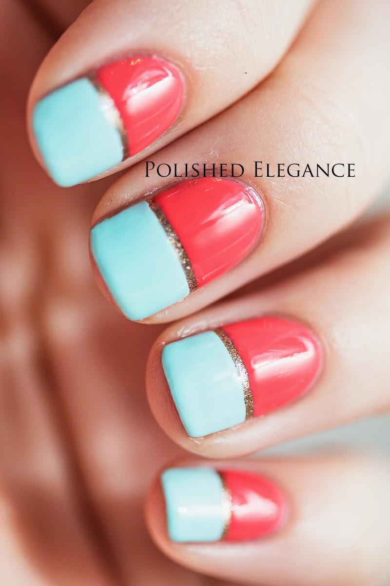 Kate Spade manicure nail art, Kate Spade mint and orange manicure nail art