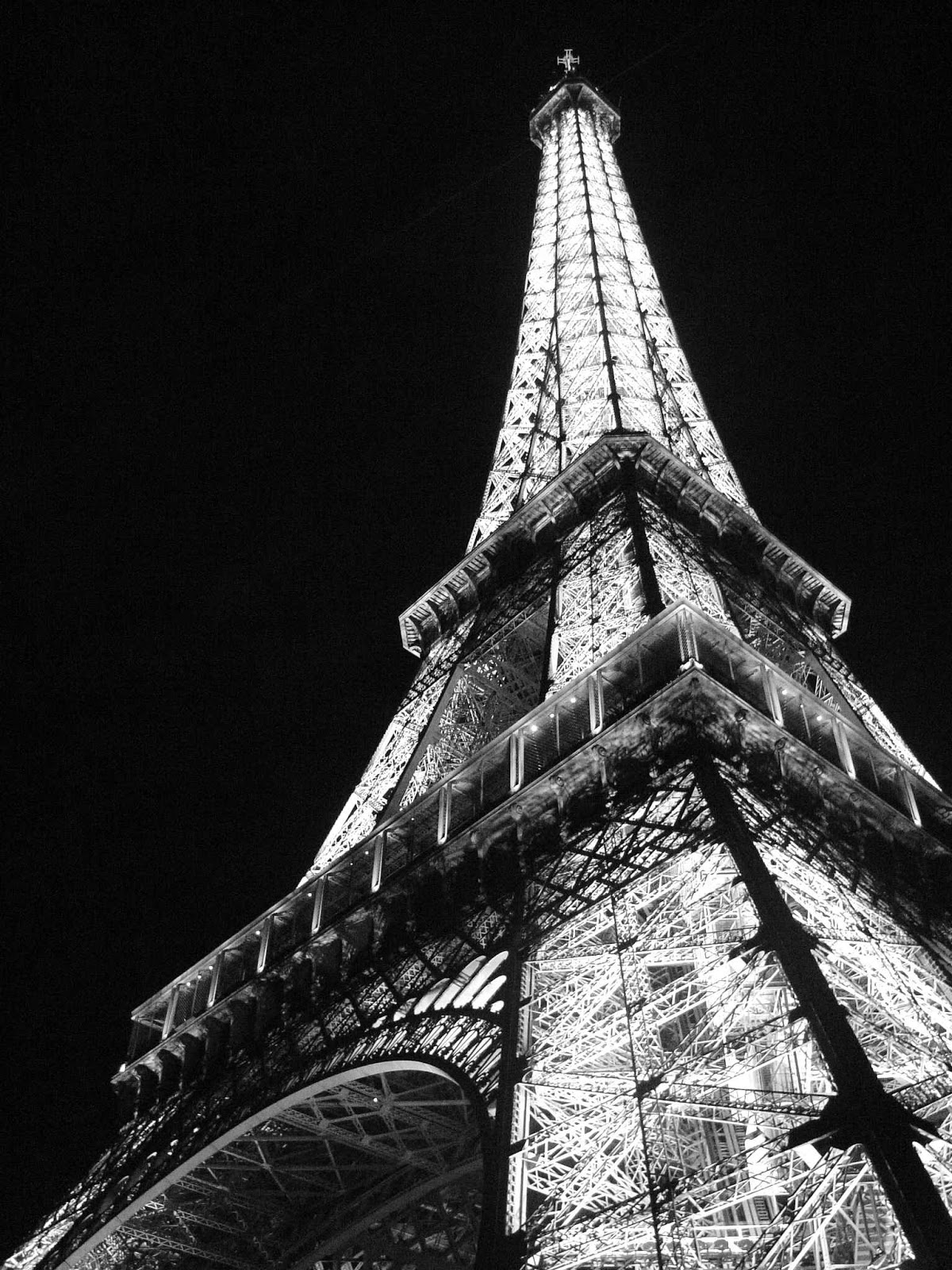 Eiffel Tower Paris at night Black and white Photo
