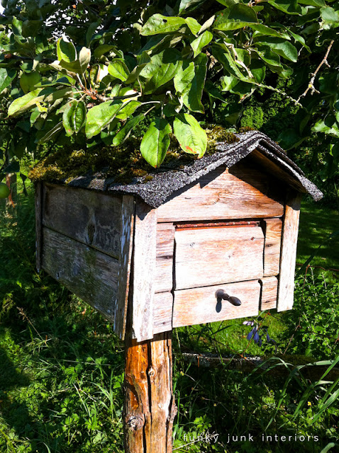 reclaimed lumber mailbox with asphalt roof